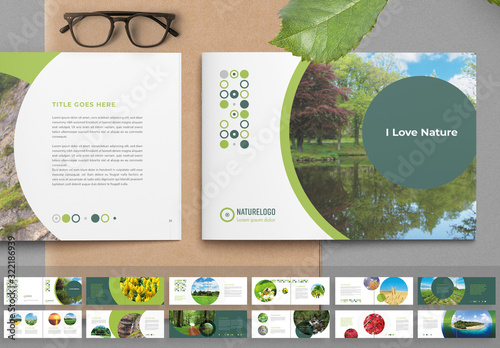 Fototapeta Nature Brochure Layout with Circle Image Masks obraz