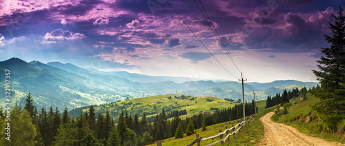 Stampa su Tela panoramic summer mountains landscape, awesome evening sunset view on meadow, gor