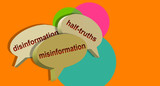 Three speech bubbles. Disinformation, half-truths and misinformation in dialog balloons. 3d illustration combining light tones and orange background with abstract effect, creating a strong contrast.
