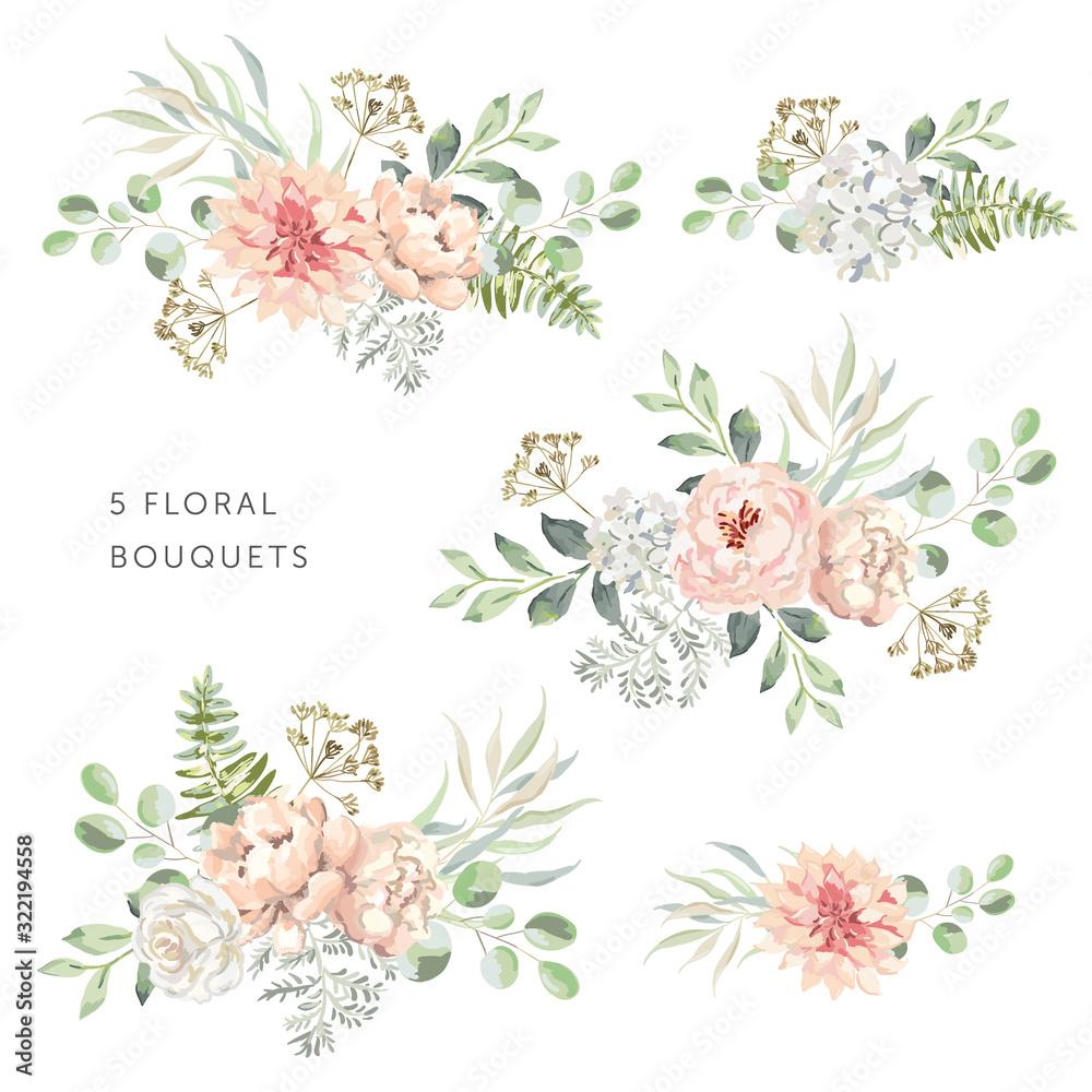 Fototapeta Blush dahlia, roses, peonies with green leaves bouquets, white background. Set of the bridal floral arrangements. Vector illustration. Romantic garden flowers. Wedding design clip art