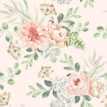 Pink Dahlia, Rose, Peony Flowers With Green Leaves Bouquets, Blush Background. Floral Illustration. Vector Seamless Pattern. Botanical Design. Nature Summer Plants. Romantic Wedding