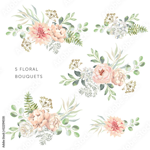 Fototapeta Blush dahlia, roses, peonies with green leaves bouquets, white background. Set of the bridal floral arrangements. Vector illustration. Romantic garden flowers. Wedding design clip art obraz