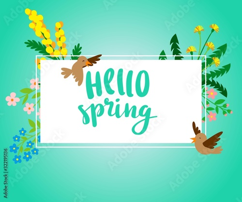 Photo Hello Spring square banner with spring flowers and birds vector illustration