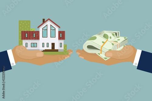 Obraz na plátně Country elite houses or cottage for rent or sale building real estate concept vector illustration
