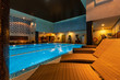 Leinwanddruck Bild - Modern blue on light backdrop. Water - swimming pool. Blue luxurious swimming pool. Swimming pool for luxury lifestyle design. Water - swimming pool. Luxury lifestyle. Natural pattern, luxury. Blue