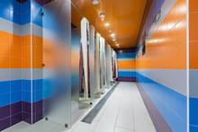 Showers Empty On Light Background. Bathroom Interior. Interior Design Wall.