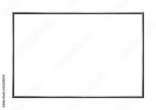 Obraz Rectangle realistic dark frame metal or silver. Beauty slender border on white background. Made of steel, photoframe template. There is Copy Space for picture. Vector illustration. - fototapety do salonu