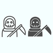 Death Person Line And Solid Icon. Stranger In A Coat With Scytche. Halloween Vector Design Concept, Outline Style Pictogram On White Background, Use For Web And App. Eps 10.