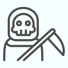 Death Person Line Icon. Stranger In A Coat With Scytche. Halloween Vector Design Concept, Outline Style Pictogram On White Background, Use For Web And App. Eps 10.