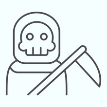 Death Person Thin Line Icon. Stranger In A Coat With Scytche. Halloween Vector Design Concept, Outline Style Pictogram On White Background, Use For Web And App. Eps 10.