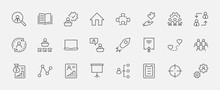 Set Of People Management Related Vector Line Icons. Contains Such Icons As Target, Puzzle, Certificate, Personal Data Processing, Task Manager, Qualification, Head Hunting And More. Editable Stroke