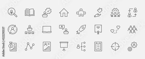 Set of People Management Related Vector Line Icons Fotobehang