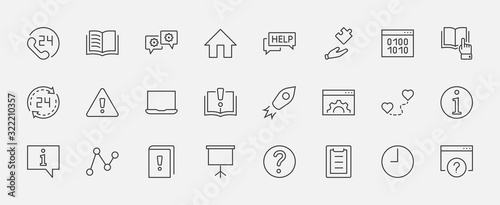 Set of Help And Support Vector Line Icons Wallpaper Mural