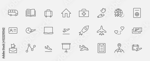 Set of Airport Related Vector Line Icons Canvas Print