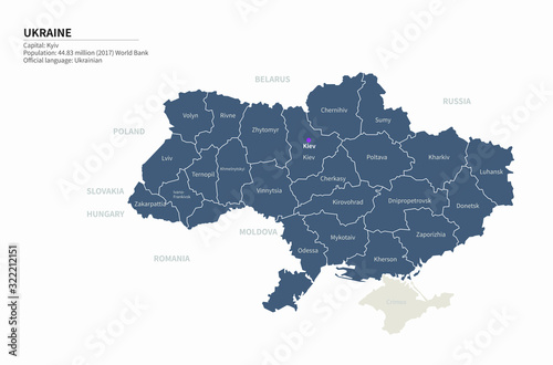 Fotografie, Obraz graphic vector map of ukraine. ukraine map. europe country map.