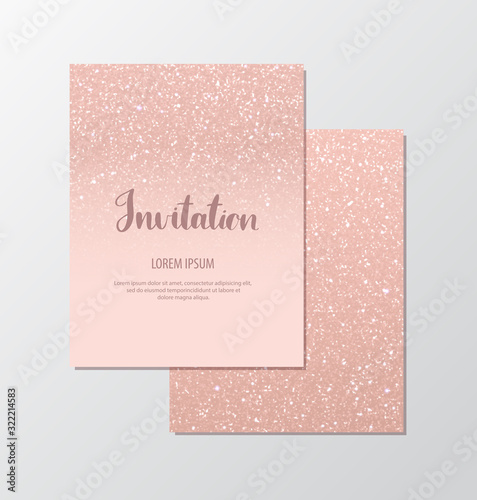 Elegant invitation cards with rose gold sequins on blush background Poster Mural XXL