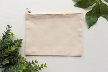 Blank Canvas Zip Case With Leaves Mockup - Eco Pencil Or Makeup Case Mockup