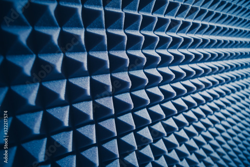 acoustic foam material for sound dampering, blue background Canvas Print