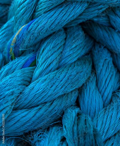 Fototapeta Thick blue nautical cord