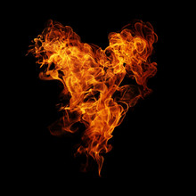 Fire Heart Black Background