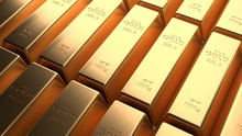 Closeup Shiny Gold Bar Arrangement In A Row. Busienss Gold Future And Financial Concept. 3D Illustration Rendering. World Economics And Currency Exchange. Money Trade And Safe Haven Marketplace