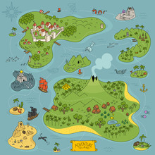 Board Game Kit. Adventure Island Map. Fantasy Area. Pirates, Sea Monsters, Mountains And City. Cartoon Colored Hand Drawn Vector.