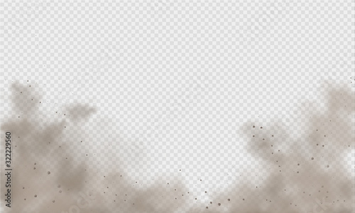 Photo Dust cloud, sand storm, powder spray on transparent background