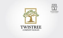 Twistree Logo Template. An Illustration Of Two Trunk Twisting Each Other In A Helix. Vector Illustration Nature  Tree.