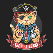 PIRATES CAT VECTOR ARTWORK WITH EDITABLE LAYERS