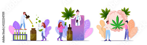 Fototapeta set people testing cbd hemp oil standing near brain with cannabis leaf drug consumption concepts collection flat full length horizontal copy space vector illustration obraz