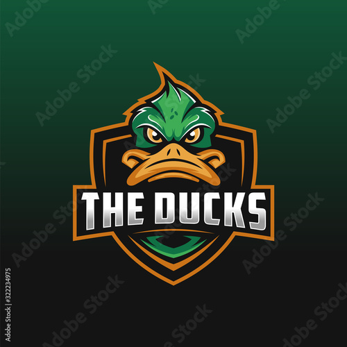 The Ducks epsort logo design illustration, Duck mascot logo design for gaming cl Fototapet