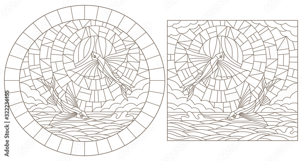 Fototapeta Set contour illustrations of stained glass with flying fish  on the sea background ,cloud, sky and sun, dark outlines on white background