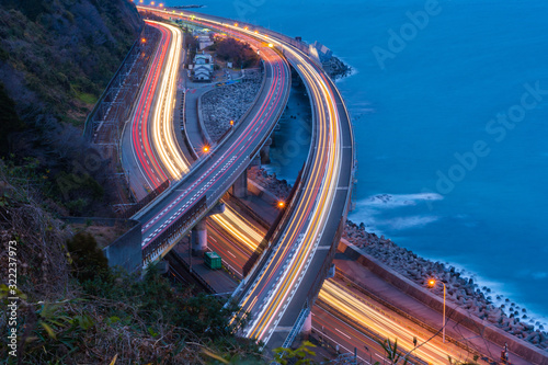 Aerial view of cars driving on highway junctions Wallpaper Mural