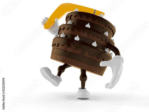 Cake character throwing boomerang Wallpaper Mural