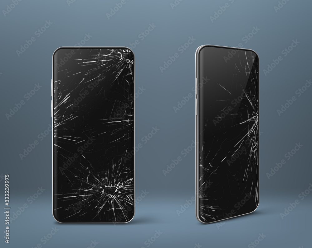 Fototapeta Mobile phone with broken screen set front and side view, smashed smartphone, shattered electronics device with black touchscreen covered with scratches and cracks, Realistic 3d vector illustration