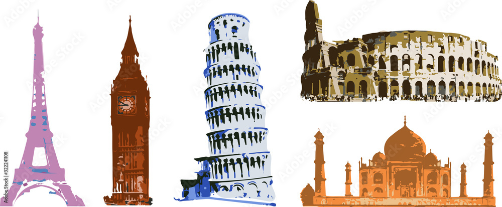 monuments of architecture of cities of the world in the style of art