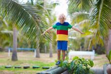 Kids On Beam. Playground In Tr...
