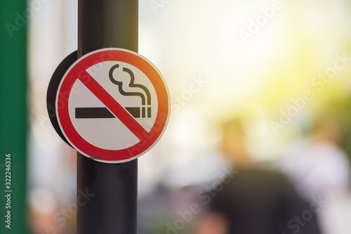 Photo No smoking sign with green