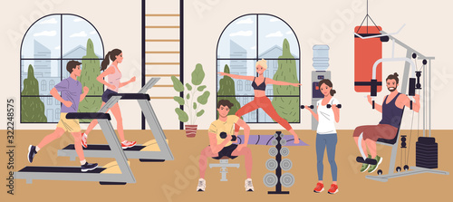 Obraz People doing cardio exercises, weight lifting and yoga in gym vector illustration. Men and women performing fitness exercises in exercise class. Wellness, sport activities, healthy lifestyle - fototapety do salonu
