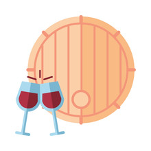 Wine Barrel Drink And Cups