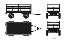 Black Silhouette Of Tractor Trailer. Side, Front, Back And Top View Of Agriculture Machinery. Farming Machinery. Industrial Blueprint