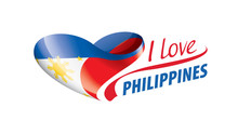 National Flag Of The Philippines In The Shape Of A Heart And The Inscription I Love Philippines. Vector Illustration
