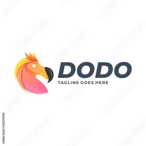 Vector Logo Illustration Head Dodo Gradient Colorful Fotomurales