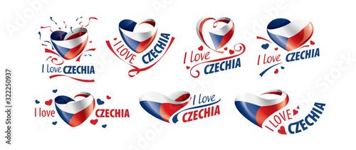 Fotografie, Obraz National flag of the Czechia in the shape of a heart and the inscription I love Czechia