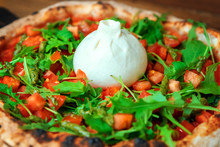 Freshly Baked Pizza With Arugu...
