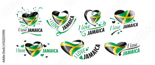 Photo National flag of the Jamaica in the shape of a heart and the inscription I love Jamaica