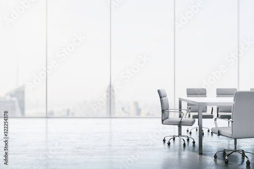 Fototapeta Furnished white conference room with table, chairs and large window overlooking the city. 3D Rendering obraz
