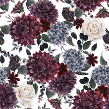 Beautiful Seamless Pattern With Watercolor Dark Blue, Red And Black Dahlia Hydrangea Flowers. Stock Illustration.