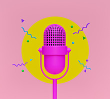 Cute Pink Retro Microphone With Abstract Shapes. Creative Minimal Design. 3d Rendering