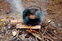 Preparing Food On Campfire - H...